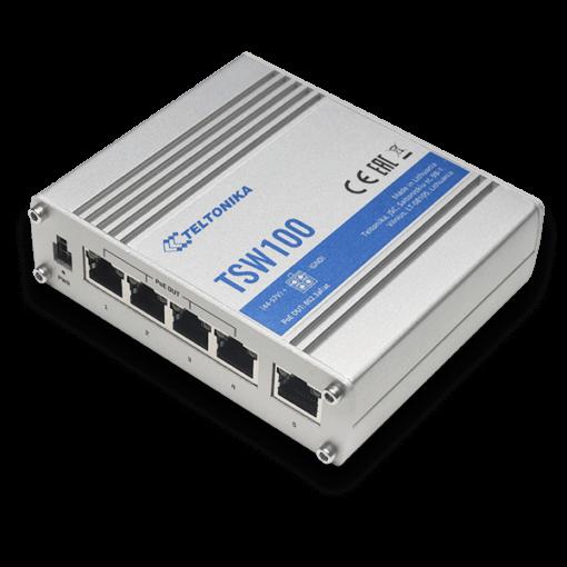 Teltonika TSW100 - Industrial 5 Port Gigabit PoE Switch