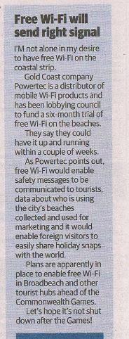 Gold Coast Bulletin Wi-Fi gold coast article